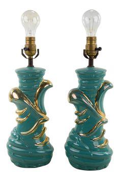 Mid-Century Modern Ceramic Table Lamps - A Pair Best Desk Lamp, Shabby Chic Lamps, Torchiere Lamp, Room Lamp, Tiffany Lamps, Ceramic Table Lamps, Cool Floor Lamps, Unique Lamps, Lamp Sets