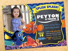 Finding Dory Inspired Birthday Party Photo Invitation - Customizable - Printable - DIY by Owen & Sally Designs