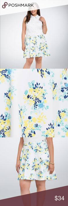 """Torrid Floral Scuba Skater Skirt. NWT. Sz 4 Torrid Floral Scuba Skater Skirt. NWT. Sz 4 Comfy and flattering, this white scuba skater skirt has a pull on waistband, increasing the flare factor. The bright yellow and turquoise floral print will keep you in a sunshine state of mind all year long. measures 23"""" in length. Waist 46"""" not stretched. Hips 58"""".  Lots of stretch as 94% polyester 6% spandex torrid Skirts Circle & Skater"""