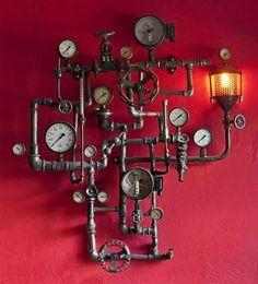 vintage industrial furniture for sale Steampunk Interior, Steampunk Furniture, Steampunk House, Steampunk Design, Steampunk Lamp, Lampe Industrial, Vintage Industrial Furniture, Industrial Bedroom, Lampe Tube
