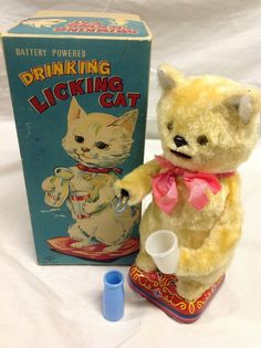 Nomura Drinking Licking Cat. Battery Operated toy from 50s. ebay