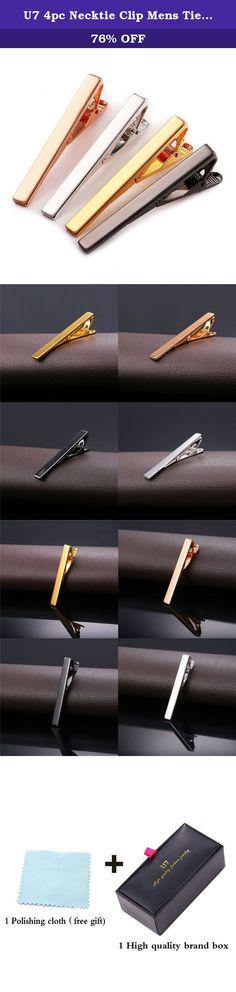 0dc51f6188b2 U7 4pc Necktie Clip Mens Tie Bar Pinch Clip Set for Regular Ties 2 Inch,. Black  Gift BoxesTie ClipsGold ...