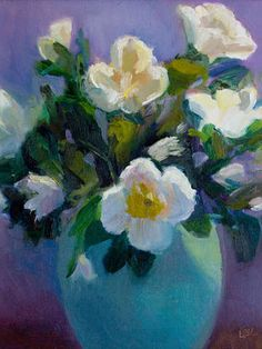 #1 Popular Print on Turning Art!   White Roses in Celadon by Linda Rosso