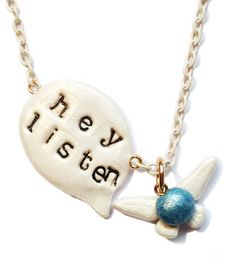 Navi Necklace Hey Listen Legend Of Zelda Polymer by XKawaiiCutieX, £16.00