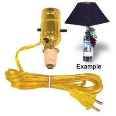 Wine Stoppers - Easy Lamp Kit Turns a Wine Bottle Into An Instant Lamp *** To view further for this item, visit the image link. Empty Wine Bottles, Wine Bottle Art, Diy Bottle, Liquor Bottles, Glass Bottles, Whiskey Bottle, Liquor Bottle Lights, Bottle Lamp Kit, Make A Lamp