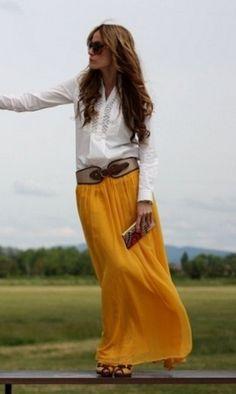 Saia longa com camisa.  www.facebook.com/feshionmoda