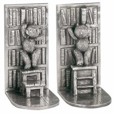 Library - These study bookends feature teddy bears in a library, pouring over rows upon rows of books.  #pewter #RoyalSelangor