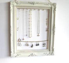 Jewelry Display & Organizer in Heirloom White  Wood Frame Handpainted Necklaces Earrings Bracelets Ornate Frame Bedroom Decor