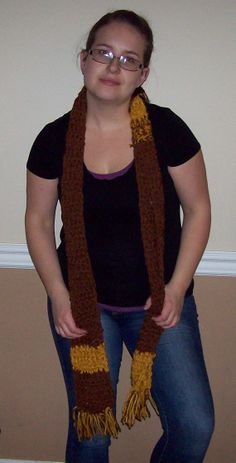Brown and Yellow Gold Crocheted Scarf with Fringe