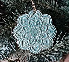 Ceramic Christmas Tree Ornament Gold edged Purple lotus  dgordon