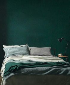 green wall paint, green paint, dark green wall, green interior trend, moody green interior - Pctr UP Bedroom Green, Green Rooms, Home Bedroom, Bedroom Decor, Green Bedding, Bedroom Ideas, Headboard Ideas, Master Bedroom, Wall Decor