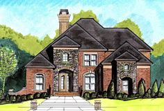 Stately European Home Plan - 13485BY | 1st Floor Master Suite, CAD Available, Corner Lot, Den-Office-Library-Study, European, Jack & Jill Bath, Loft, MBR Sitting Area, PDF, Photo Gallery, Split Bedrooms, Traditional | Architectural Designs