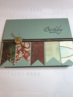 Inspired by sarsam on Splitcoast via Pinterest. Various patterned scraps and Sage Shadow and Early Expresso. Sincere Salutations **photo only Coffee Brewing Methods, Masculine Cards, Sage, Stampin Up, Birthday Cards, Projects To Try, Decorative Boxes, Card Making, Cooking Recipes
