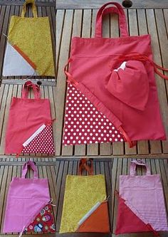 Come cucire borsa shopper richiudibile – Tutorial Sewing Hacks, Sewing Tutorials, Sewing Crafts, Sewing Projects, Sewing Patterns, Sewing Diy, Pochette Diy, Patchwork Bags, Fabric Bags
