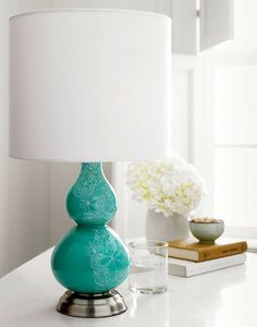 lamps-and-lampshades, Decorate a boring lamp base with a Sharpie oil paint marker and freehand doodles.