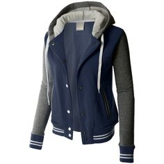 LE3NO PREMIUM Womens Contrast Sleeve Fleece Varsity Baseball Hoodie... ($38) ❤ liked on Polyvore featuring outerwear, jackets, color block jacket, stripe jacket, blue jackets, blue fleece jacket and fleece baseball jacket