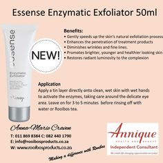 Enzynamic Exfoliator #rooibos #annique Natural Exfoliant, Natural Skin, How To Apply, Posts, Products, Messages, Natural Leather, Beauty Products