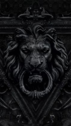black lion door knocker / color inspiration / black and white / monochromatic / texture / pattern / nature / art / Lion Door Knocker, Door Knockers, Door Knobs, Door Handles, Lion Noir, Sculptures, Lion Sculpture, Black Lion, Shades Of Black