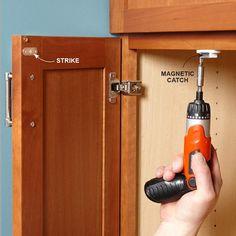 Keep Cabinet Doors Closed - 10-Minute House Repair and Home Maintenance Tips: http://www.familyhandyman.com/smart-homeowner/diy-home-improvement/10-minute-house-repair-and-home-maintenance-tips#6