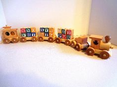 Wooden Toy Train  Alphabet Train  All Natural  by OzarkRusticWood, $57.95