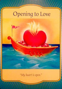 """Daily Angel Oracle Card: Opening To Love, from the Gateway Oracle Card deck, by Denise Linn Opening To Love: """"My heart is open"""" Card meaning: Love is on its way. The more you open to love, the more..."""