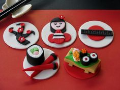 Japanese Cupcake Toppers by Lynlee's Petite Cakes, via Flickr  LOVE the little sushi board