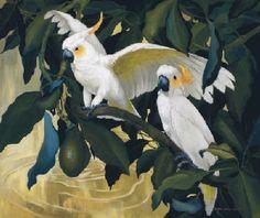 Cockatoos and Avocado Tropical Animals, Tropical Birds, Australian Birds, Bird Illustration, Cockatoo, Wildlife Art, Art Auction, Bird Art, Beautiful Birds