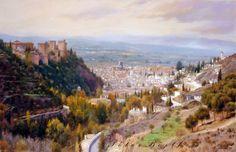PINTURA PÉTER BOJTHE Granada, Andalucia, Grand Canyon, Watercolor, Mountains, Travel, Art Paintings, Artists, House Paintings