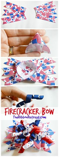 Firecracker Bow and Headband - The Ribbon Retreat Blog