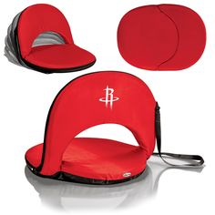 The Red Houston Rockets Oniva Stadium Seat and Bleacher Chair with reclining back rest