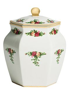 Royal Albert Old Country Roses Biscuit Jar             with 24k Gold  ~ 1962