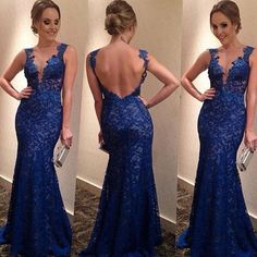 New Women Sexy Backless Maxi Lace Deep V-Neck Long Cocktail Party Evening Dress #NEW #BallGown #Cocktail