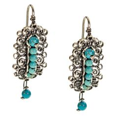 Sterling Silver Frida Kahlo Filgree Earrings with Turquoise