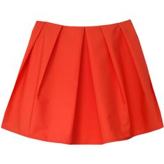 Silence Beyond Syllables Danah Tangerine Skirt (33.555 CLP) ❤ liked on Polyvore featuring skirts, orange, orange skirt, wide skirt, box pleat skirt, red skirt and structured a line skirt