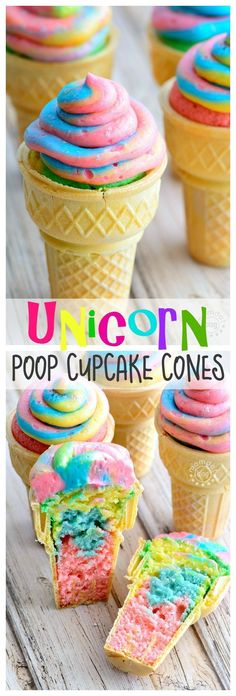 Splendid Unicorn Poop Cupcake Cones – learn how to make rainbow cupcake cones perfect for school parties. SO FUN. Get recipe and how to swirl frosting here now! The post Unicorn Poop Cupcake C . Yummy Treats, Delicious Desserts, Sweet Treats, Yummy Food, Rainbow Frosting, Rainbow Cupcakes, Unicorn Cupcakes, Buttercream Frosting, Coconut Dessert