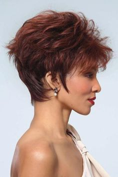 Roni by Noriko is a multi-layered texture wig with nape-hugging tapered edges. Short Choppy Hair, Haircuts For Curly Hair, Haircut For Thick Hair, Short Hair With Layers, Cute Hairstyles For Short Hair, Short Hair Cuts For Women, Short Curly Hair, Curly Hair Styles, Layered Hairstyles