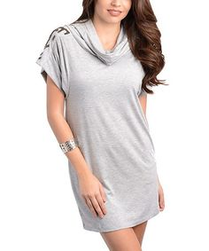 Take a look at this Gray Cowl Neck Dress by Buy in America on #zulily today!