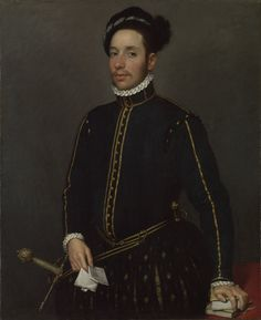 Giovanni Battista Moroni (Italian c. [Renaissance, Mannerism, Portrait] Il Gentile Cavaliere (Portrait of a Left-Handed Gentleman with Two Quartos and a Letter), National Gallery, London.