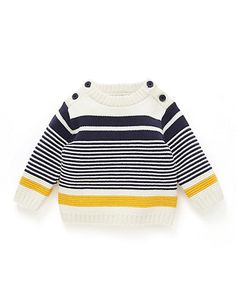 Buy the Pure Cotton Striped Jumper from Marks and Spencer's range. Buy the Pure Cotton Striped Jumper from Marks and Spencer's range. Baby Sweater Patterns, Baby Knitting Patterns, Baby Vest, Baby Cardigan, Baby Pullover Muster, Gents Sweater, Future Clothes, Boys Sweaters, Knitting For Kids