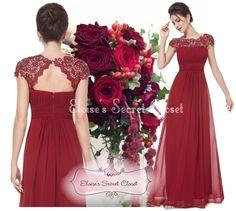 KATIE Cranberry Red Lace Maxi Prom Evening Bridesmaid Ballgown Dress www,eloises-secret-closet.co.uk