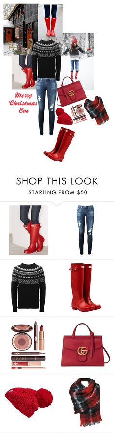 """""""Merry Christmas Eve"""" by jeanine65 ❤ liked on Polyvore featuring Hunter, AG Adriano Goldschmied, Moncler, Charlotte Tilbury, Gucci and Canada Goose"""