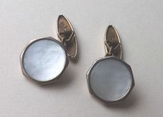 Vintage LAMBOURNES CHAINLINK CUFFLINKS Gold Tone MOTHER OF PEARL Free P&P