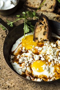 Fried eggs in Garlicky Yoghurt with Feta Cheese is so simple yet so delicious…