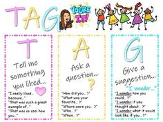 TAG Poster for Peer Feedback by All Heart for Primary - Cj Hanson Kindergarten Writing Activities, Easel Activities, Reading Comprehension Strategies, Reading Skills, Teacher Newsletter, Classroom, Student, Teaching, Poster