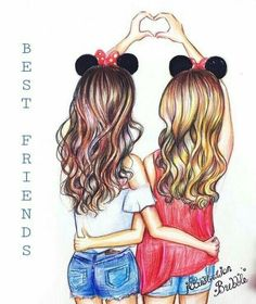 Cute drawings, drawing sketches, kawaii drawings, beautiful drawings, bff p Bff Drawings, Tumblr Drawings, Drawings Of Friends, Disney Drawings, Drawing Of Best Friends, Cute Best Friend Drawings, Drawing Sketches, Cute Drawings Of Girls, Hard Drawings