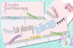 Planning settimanale per il blog gratuito - Free Weekly Planning Cute Blog