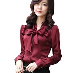 Amazon.com: Zeagoo Women's Long Sleeve Bowknot Vintage OL Blouse: Clothing