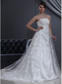 Wedding Dresses - $245.99 - Empire Strapless Chapel Train Tulle Charmeuse Wedding Dress With Lace Beadwork  http://www.dressfirst.com/Empire-Strapless-Chapel-Train-Tulle-Charmeuse-Wedding-Dress-With-Lace-Beadwork-002000267-g267