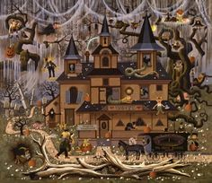 The Sweetheart Hotel by Charles Wysocki.he did several Halloween scenes.this is one I would frame or would like to see on a party invitation Halloween Pictures, Halloween Art, Holidays Halloween, Vintage Halloween, Happy Halloween, Halloween 2018, Halloween House, Whimsical Halloween, Halloween Wreaths
