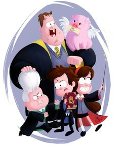 Gravity Falls by YankovskayaJulia on DeviantArt. Personally, I think Mabel belongs in Hufflepuff...